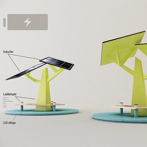 Solcells laddstation för mobiltelefoner som vi hoppas på att skänka till en viss 600-års födelsegris, Landskrona Stad :)Vad tycker ni? Hade ni använt den?#offgrid #mobile #phone #charger #solarcells #klimatsmart #emrahus & #erickton #design & #illustration